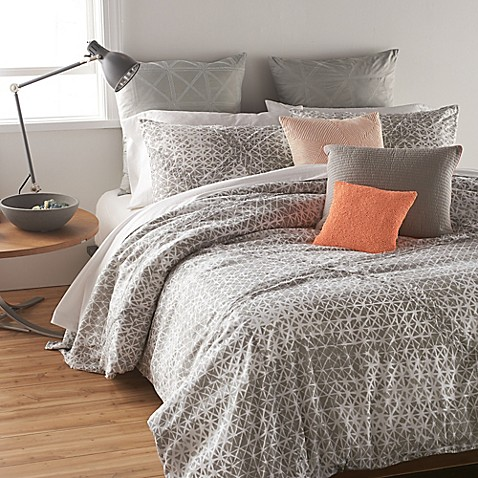 Buy DKNY Gridlock European Pillow Sham in Grey from Bed Bath & Beyond