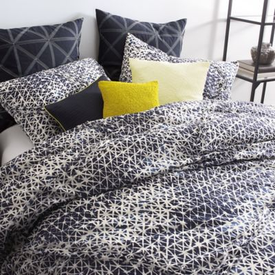 DKNY Gridlock King Duvet Cover in Navy