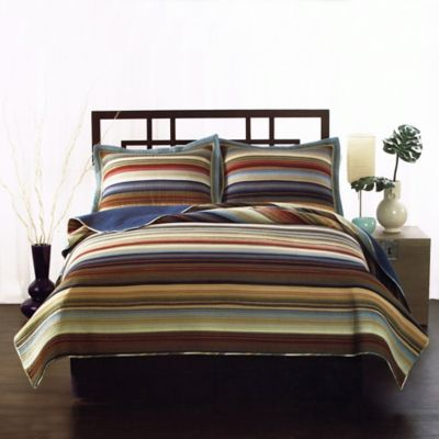 Retro Stripe Queen Quilt in Natural