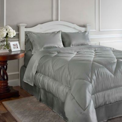 Satin Luxury California King Comforter Set in Taupe