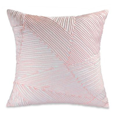 DKNY Gridlock Corded Square Throw Pillow in Natural/Orange