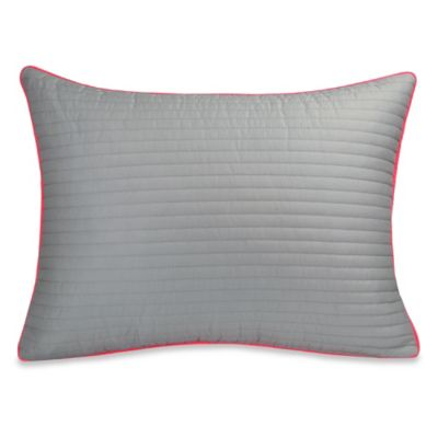 DKNY Gridlock Quilted Oblong Throw Pillow in Grey/Orange