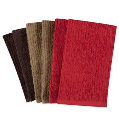 Solid Assorted Colors Kitchen Towels (Set of 6)