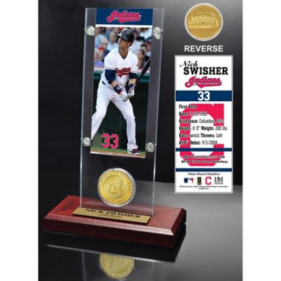 MLB Cleveland Indians Nick Swisher Ticket and Minted Coin Desk Acrylic