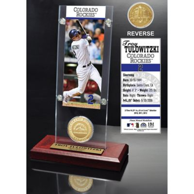MLB Colorado Rockies Troy Tulowitzki Ticket and Minted Coin Desk Acrylic