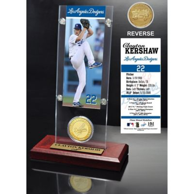 MLB Los Angeles Dodgers Clayton Kershaw Ticket and Minted Coin Desk Acrylic