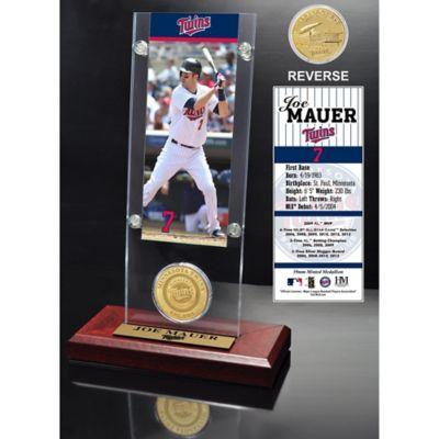 MLB Minnesota Twins Joe Mauer Ticket and Minted Coin Desk Acrylic