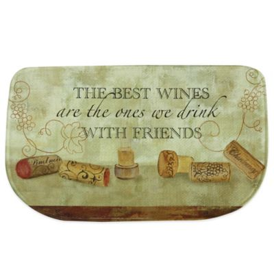 Bacova 18-Inch x 29.5-Inch Wines with Friends Memory Foam Kitchen Rug