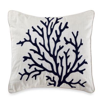 Nautica® Leighton Coral Embroidered Square Throw Pillow in Khaki