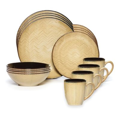 Gourmet Basics by Mikasa® Ridgewood 16-Piece Dinnerware Set in Taupe