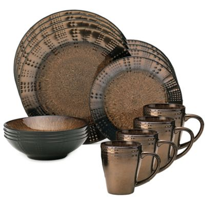 16-Piece Brown Dinnerware Set