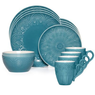 16-Piece Dinnerware Set in Turquoise