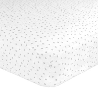 Just Born® Safe Sleep Gramercy Dots Fitted Crib Sheet in Grey