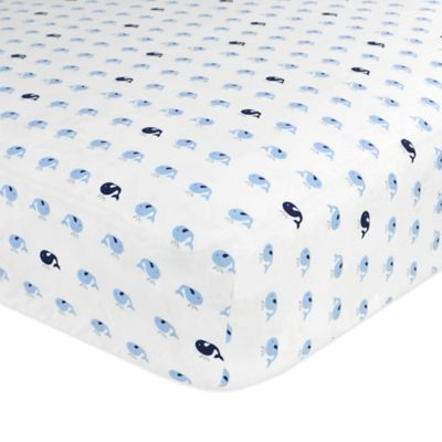 Just Born® Safe Sleep Jonah Fitted Crib Sheet in Navy/Light Blue