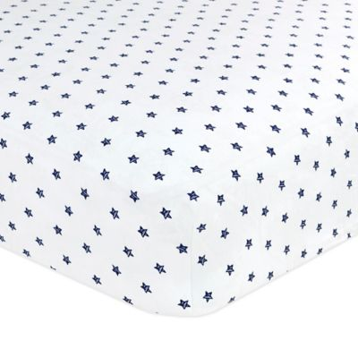 Just Born® Safe Sleep Twinkle Twinkle Fitted Crib Sheet in Navy