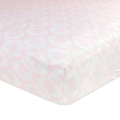 Just Born® Safe Sleep Trellis Fitted Crib Sheet in Pink
