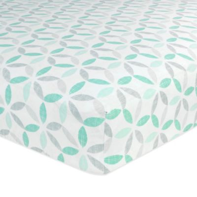 Just Born® Safe Sleep Tribeca Fitted Crib Sheet in Teal/Grey
