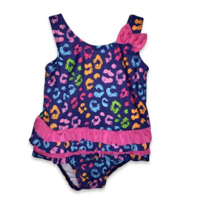Absorba® Size 12M 1-Piece Multicolor Cheetah Print Swimsuit in Royal Blue/Pink