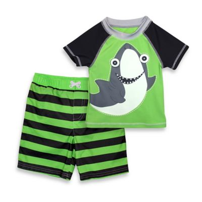 sol swim® Size 24M 2-Piece Happy Shark Rashguard Set in Green/Black