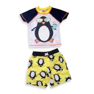 sol swim® 2-Piece Cool Penguin Rashguard Set in White/Yellow/Black