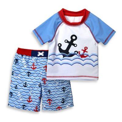 sol swim® Size 18M 2-Piece Anchor Dip Rashguard Set in Blue/White/Red
