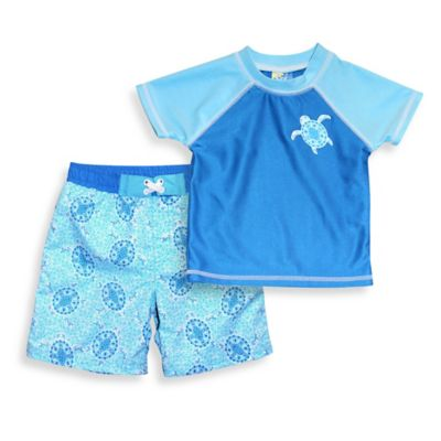 sol swim® Size 24M 2-Piece Baby Turtle Rashguard Set in Blue/Light Blue
