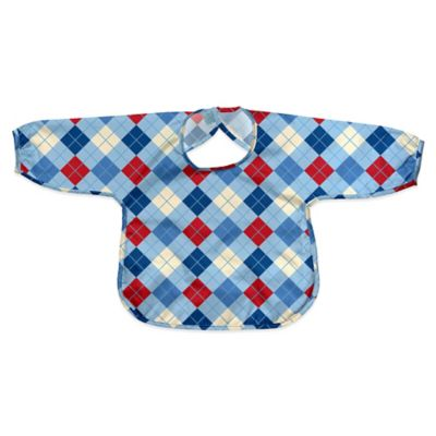 i play.® Size 12-24M Long Sleeve Waterproof Best Bib in Light Blue Argyle