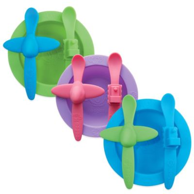 Oogaa Planes & Trains Silicone Mealtime Set in Blue/Green