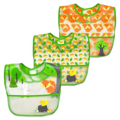 i play.® 3-Pack Forest Waterproof Bibs in Green