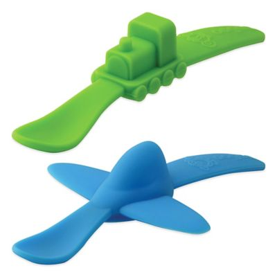oogaa® 2-Pack Planes & Trains Silicone Spoons in Blue/Green