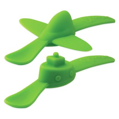 oogaa® 2-Pack Planes & Boats Silicone Spoons in Green