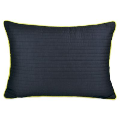 DKNY Gridlock Quilted Oblong Throw Pillow in Navy