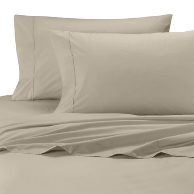 Wamsutta® Cool Touch Percale Twin Fitted Sheet in Taupe