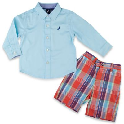 Nautica® Size 3T 2-Piece Solid Woven Shirt and Short Set in Multi Plaid