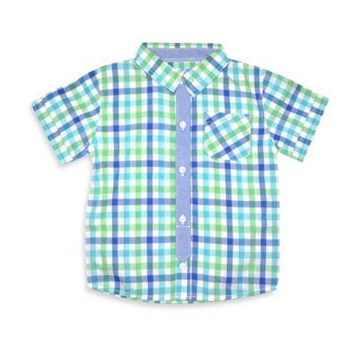 Kapital K™ Size 3T Short Sleeve Poplin Shirt in Blue/Green/White Check