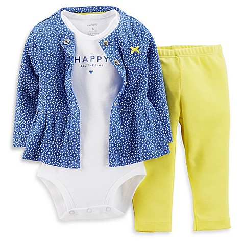 "Carter s 3 Piece ""Happy All the Time"" Cardigan Bodysuit"