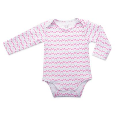 EGG Newborn Long Sleeve Dot Print Jersey Bodysuit in Pink/White