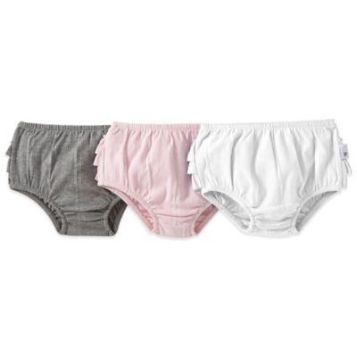 Burt's Bees Baby™ Size 18M 3-Pack Ruffle Diaper Cover Set in Pink/Grey/White