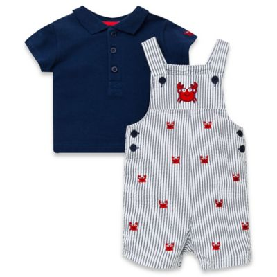 Little Me® Size 6M 2-Piece Crab Shortall and Shirt Set