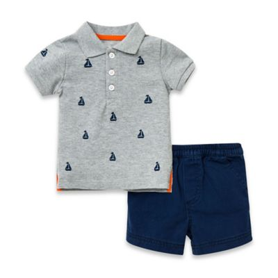 Little Me® Size 6M 2-Piece Sailboat T-Shirt and Short Set in Grey