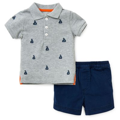 Little Me® Size 2T 2-Piece Sailboat Pique Polo Shirt and Twill Short Set in Grey/Navy