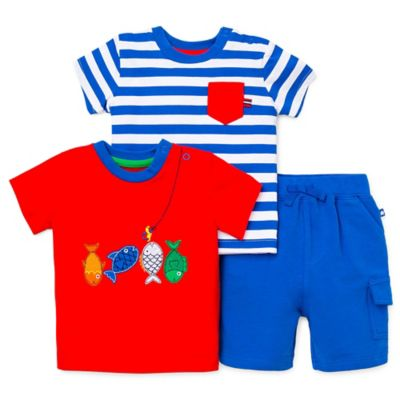 Little Me® Size 12M 3-Piece Fish/Pocket T-Shirt and Short Set in Red/Blue/White