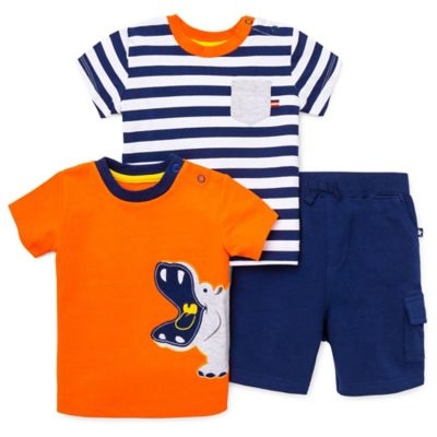 Little Me® Size 12M 3-Piece Hippo/Pocket T-Shirt and Short Set in Orange/Navy/White