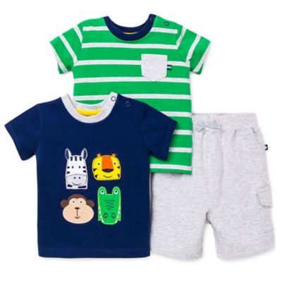 Little Me® Size 18M 3-Piece Safari/Pocket T-Shirt and Short Set in Navy/Green/Grey