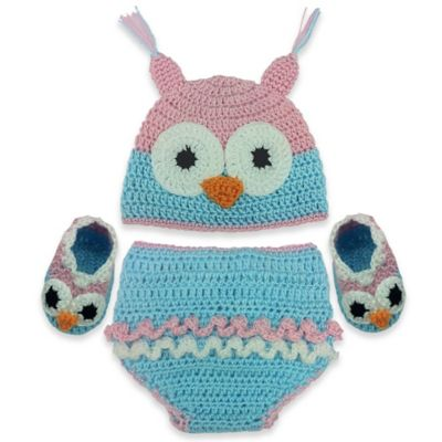 So'Dorable Owl 3-Piece Crochet Set in Turquoise/Pink