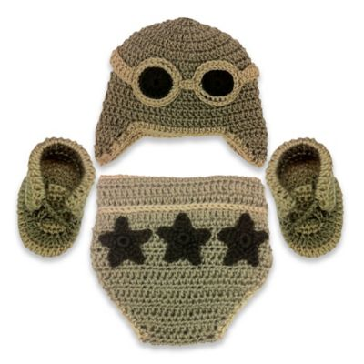 So'Dorable Aviator 3-Piece Crochet Set in Brown