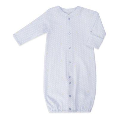 EGG Newborn Dot Print Jersey Convertible Gown in Blue