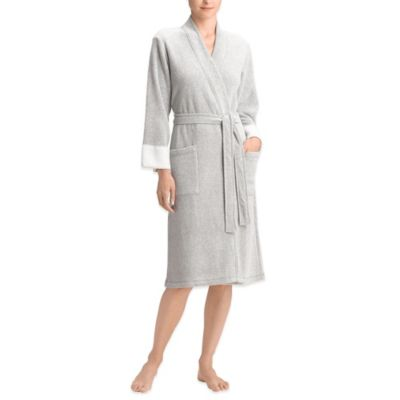 Natori Nirvana Size XS Brushed Terry Wrap Bathrobe in Heather Royal Purple