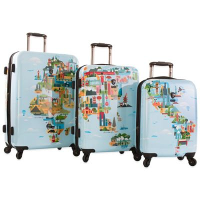 Heys® FVT World Map 3-Piece Expandable Spinner Set