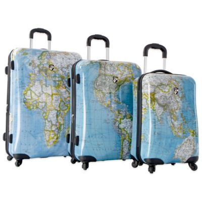 Heys® Journey Maps 3-Piece 4-Wheel Spinner Upright Luggage Set